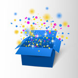 Happy Birthday Box with Confetti Surprise. Vector blue box explosion. Royalty Free Stock Photos