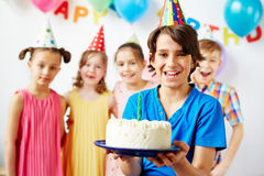 Happy Birthday Boy with Friends Stock Photo