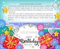 Happy birthday bright vector banner with your name and text royalty free stock image