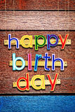 Happy Birthday. Bright multi colored painted letters Royalty Free Stock Photography