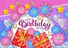 Happy birthday bright vector banner royalty free stock photos