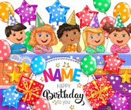 Happy birthday bright vector banner with your name royalty free stock photo