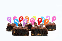 Happy Birthday Brownies on White with Copy Space Royalty Free Stock Images