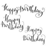 Happy Birthday Brush Script Style Hand lettering. Stock Photo
