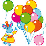Happy birthday. Bunny with balloons for happy birthday remade Stock Images