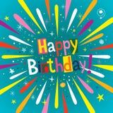 Happy Birthday burst greeting card Royalty Free Stock Image