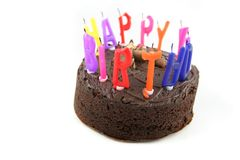 Happy Birthday - Cake 1. Birthday Cake with Candles Isolated on a white background Royalty Free Stock Photo