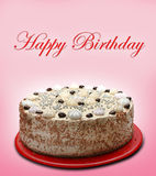 Happy birthday cake. A happy birthday cake on pink backgorund Stock Images