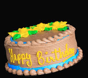 Happy birthday cake. Studio isolated on black royalty free stock image