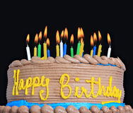 Happy birthday cake. With lots of candles stock photo