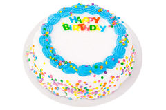 Happy birthday cake. A happy birthday cake isolated on white royalty free stock photography