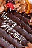Happy Birthday cake. Decoration of chocolate birthday cake stock image