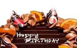 Happy Birthday cake. Decoration of chocolate birthday cake royalty free stock photos