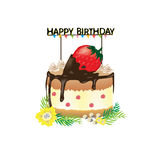 Happy birthday cake with big strawberry and Happy birthday tag. Royalty Free Stock Photos