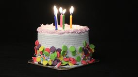 Happy Birthday. Birthday cake on a black background stock video footage