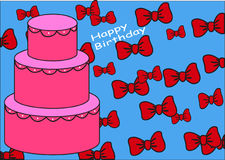 Happy Birthday. Birthday with cake and bows Vector Illustration