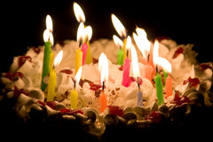 Happy Birthday Cake with Burning Candles. Shallow DOF, focus on closest candles stock photos