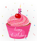 Happy birthday cake with candle and confetti Stock Photos