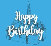 Happy birthday cake with a candle. In a cake sticker design calligraphy typography on a blue background. Festive illustration with cake for greeting or Stock Photo