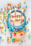 Happy birthday cake. With candles stock images