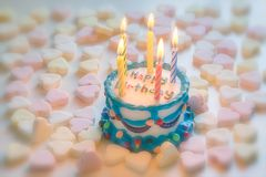 Happy birthday cake. With candles royalty free stock photo