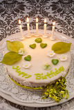Happy birthday cake. With candles and beautyful decoration stock photography