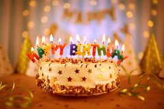 Happy birthday cake with candles.  royalty free stock photo