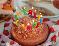 Happy Birthday Cake with Candles letter burning 2 Stock Image
