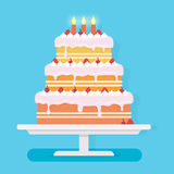 Happy Birthday cake with candles. Stock Photography