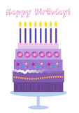 Happy Birthday Cake and Candles Royalty Free Stock Photography