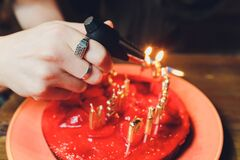 Happy birthday cake with candles Russian letters.