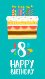 Happy Birthday cake card for 8 eight year party. Happy birthday number 8, greeting card for eight years in fun art style with cake and candles. Anniversary Royalty Free Stock Photography