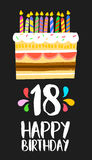 Happy Birthday cake card 18 eighteen year party. Happy birthday number 18, greeting card for eighteen years in fun art style with cake and candles. Anniversary royalty free illustration
