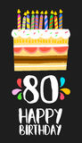 Happy Birthday cake card for 80 eighty year party. Happy birthday number 80, greeting card for eighty years in fun art style with cake and candles. Anniversary Royalty Free Stock Image