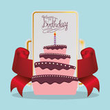Happy birthday cake card festive. Illustration eps 10 Stock Photos