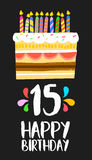 Happy Birthday cake card 15 fifteen year party Stock Image