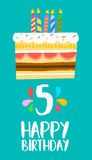 Happy Birthday cake card for 5 five year party. Happy birthday number 5, greeting card for five years in fun art style with cake and candles. Anniversary Stock Photos