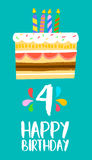 Happy Birthday cake card for 4 four year party. Happy birthday number 4, greeting card for four years in fun art style with cake and candles. Anniversary Stock Images