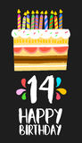 Happy Birthday cake card 14 fourteen year party. Happy birthday number 14, greeting card for fourteen years in fun art style with cake and candles. Anniversary royalty free illustration