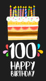 Happy Birthday cake card 100 hundred year party Stock Images