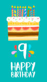 Happy Birthday cake card for 9 nine year party. Happy birthday number 9, greeting card for nine years in fun art style with cake and candles. Anniversary Stock Photography