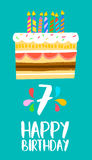 Happy Birthday cake card for 7 seven year party. Happy birthday number 7, greeting card for seven years in fun art style with cake and candles. Anniversary Vector Illustration