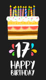 Happy Birthday cake card 17 seventeen year party. Happy birthday number 17, greeting card for seventeen years in fun art style with cake and candles. Anniversary Royalty Free Stock Photos