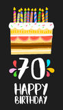 Happy Birthday cake card for 70 seventy year party. Happy birthday number 70, greeting card for seventy years in fun art style with cake and candles. Anniversary Stock Images