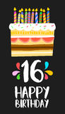 Happy Birthday cake card 16 sixteen year party. Happy birthday number 16, greeting card for sixteen years in fun art style with cake and candles. Anniversary Royalty Free Stock Photos
