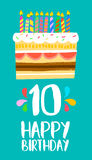 Happy Birthday cake card for 10 ten year party Royalty Free Stock Images