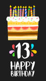 Happy Birthday cake card 13 thirteen year party. Happy birthday number 13, greeting card for thirteen years in fun art style with cake and candles. Anniversary Royalty Free Stock Photography