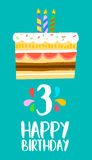 Happy Birthday cake card for 3 three year party. Happy birthday number 3, greeting card for three years in fun art style with cake and candles. Anniversary Royalty Free Stock Images