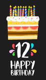 Happy Birthday cake card for 12 twelve year party Stock Image