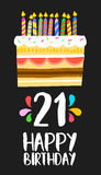 Happy Birthday cake card 21 twenty one year party. Happy birthday number 21, greeting card for twenty one years in fun art style with cake and candles Stock Photography